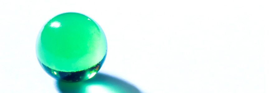 Round green glass object
