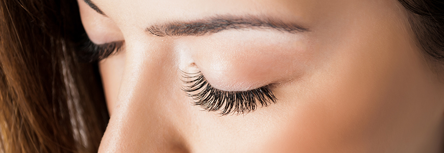 A close-up of a woman's eyelashes
