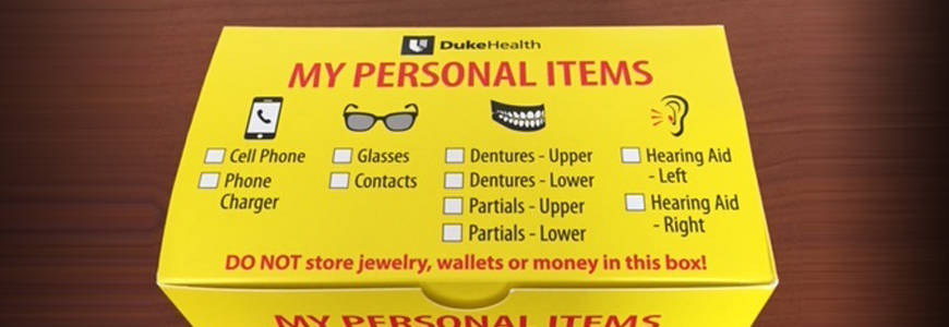 Yellow box for personal items