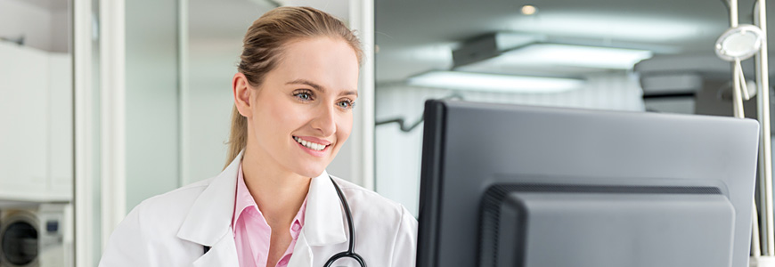 physician at computer