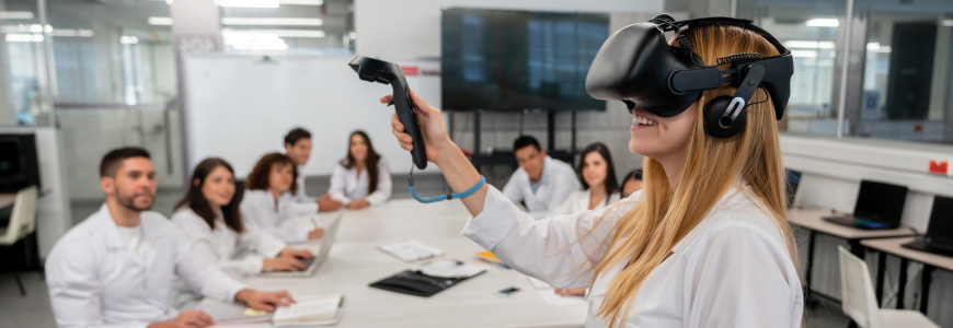 Virtual reality demonstration in front of group of doctors