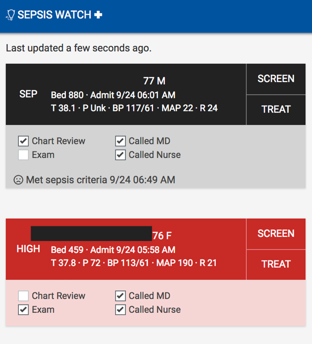 Sepsis Watch application screen