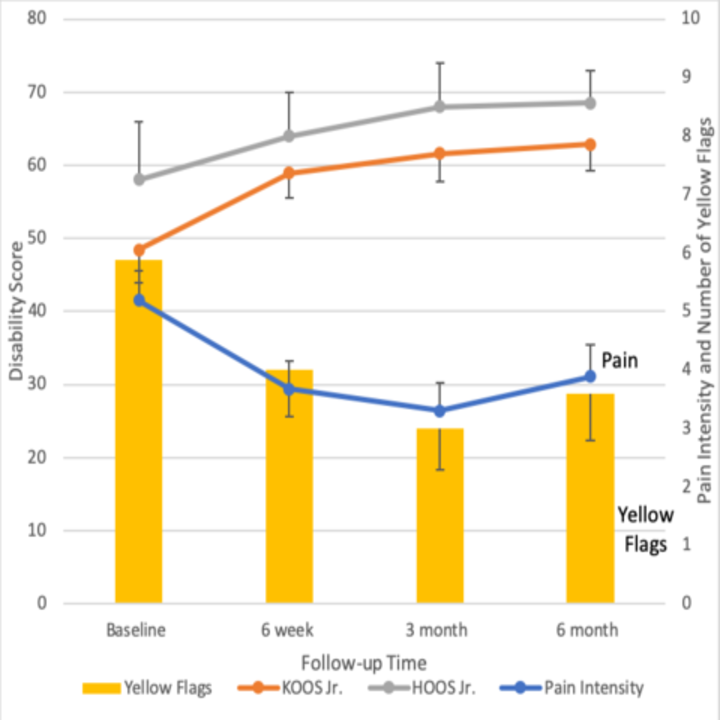 Disability, Pain Intensity, and Yellow Flag values over time for patients completing all follow-up in the Duke JHP (n=86)